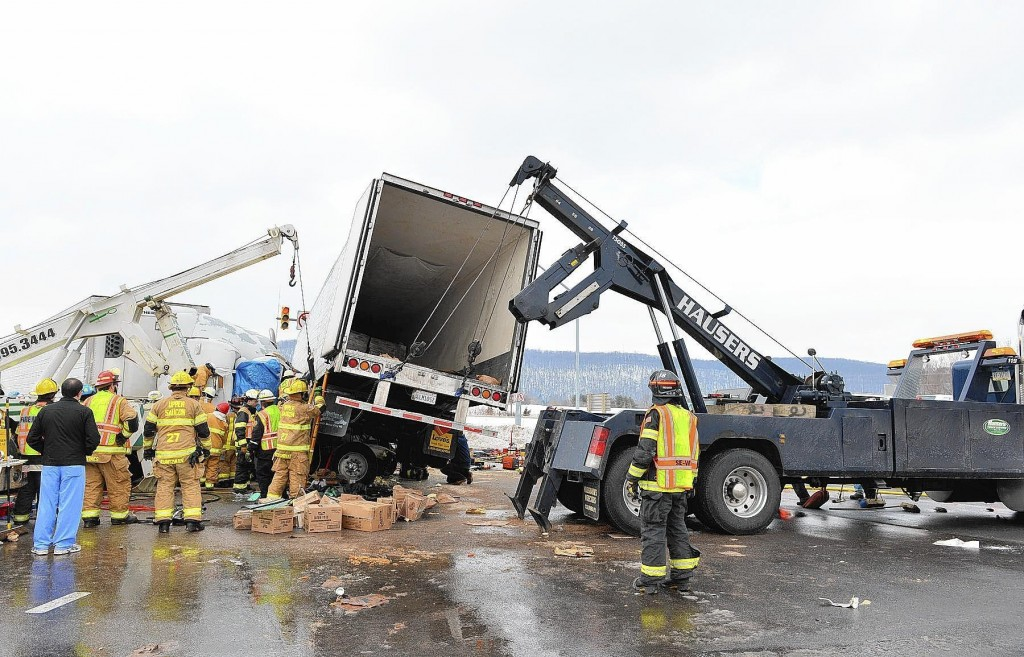 A pair of trucks crashed, trapping one driver in his cab, last month on West Saucon Valley Road near Center Valley Parkway in Upper Saucon Township, a collision one area driver says is indicative of traffic problems in the area. (APRIL BARTHOLOMEW, THE MORNING CALL)