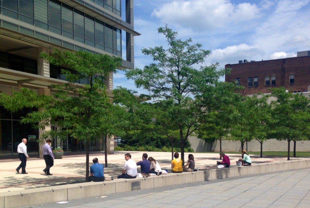 Folks on lunch break enjoying the sunny day taking advantage of the great pedestrian facilities all over Hamilton. Fantastic urban design.