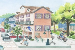 When artists draw idyllic classic representations of American Communities how come they never draw strip malls or STROAD commercial corridors?