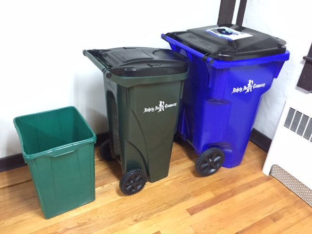 Here are the new Recycling toters. The green represents the current size. Blue and dark green are the new sizes.